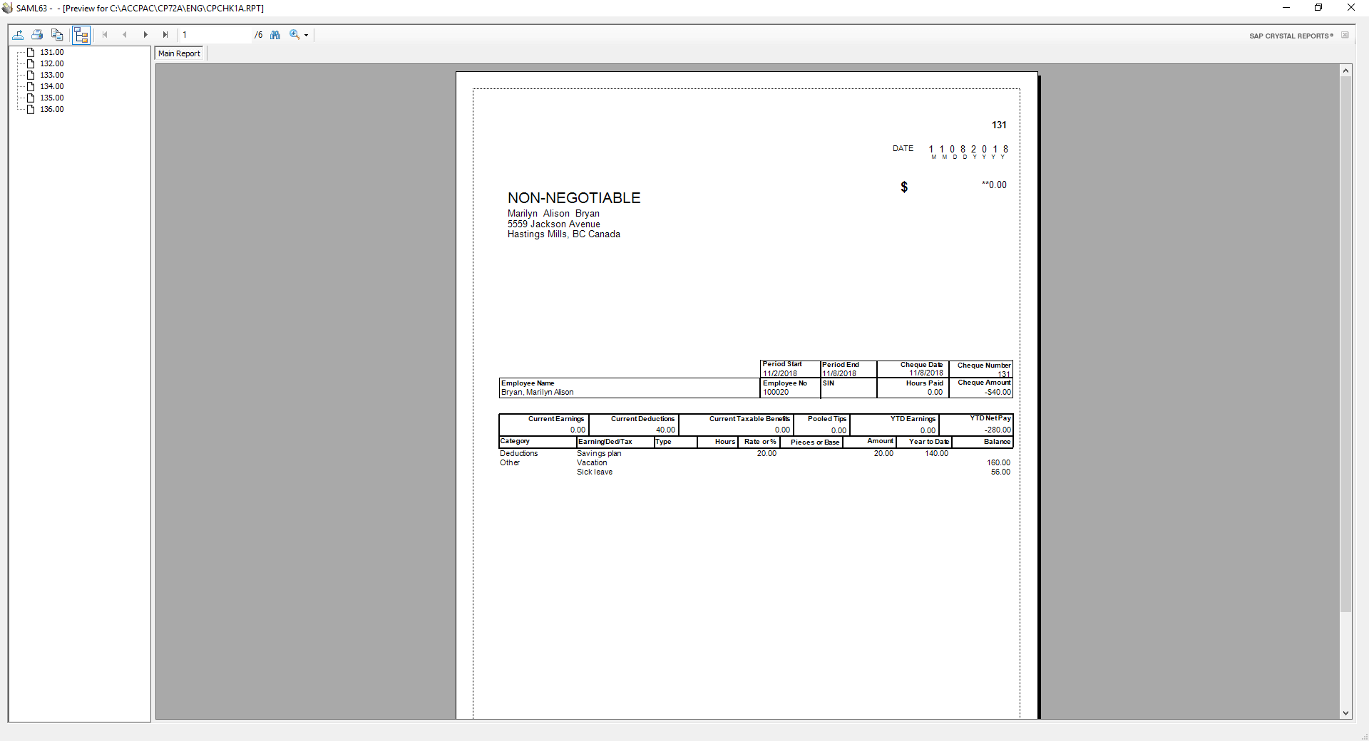 Sage 300 print checks preview screen